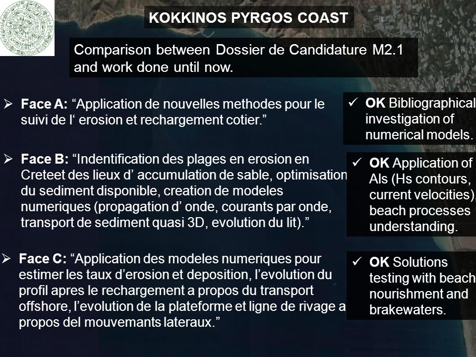 KOKKINOS PYRGOS COAST Comparison between Dossier de Candidature M2.1 and work done until now.