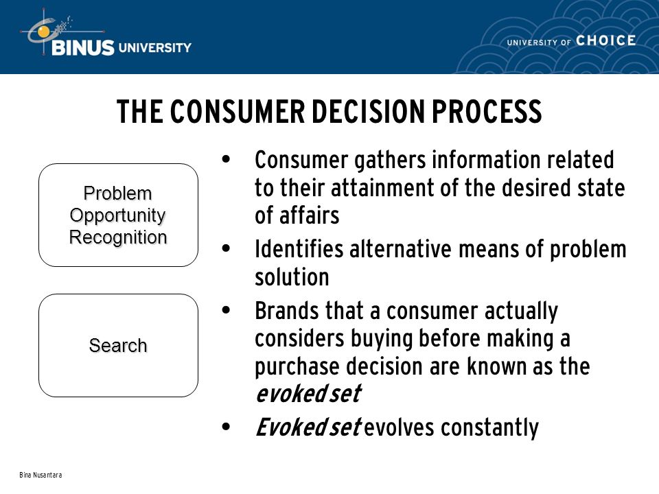 Bina Nusantara THE CONSUMER DECISION PROCESS Search Problem Opportunity Recognition Consumer gathers information related to their attainment of the desired state of affairs Identifies alternative means of problem solution Brands that a consumer actually considers buying before making a purchase decision are known as the evoked set Evoked set evolves constantly