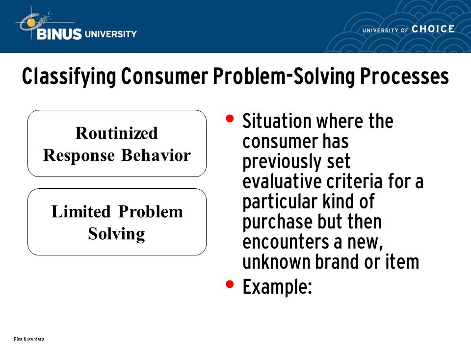 Bina Nusantara Classifying Consumer Problem-Solving Processes Situation where the consumer has previously set evaluative criteria for a particular kind of purchase but then encounters a new, unknown brand or item Example: Routinized Response Behavior Limited Problem Solving