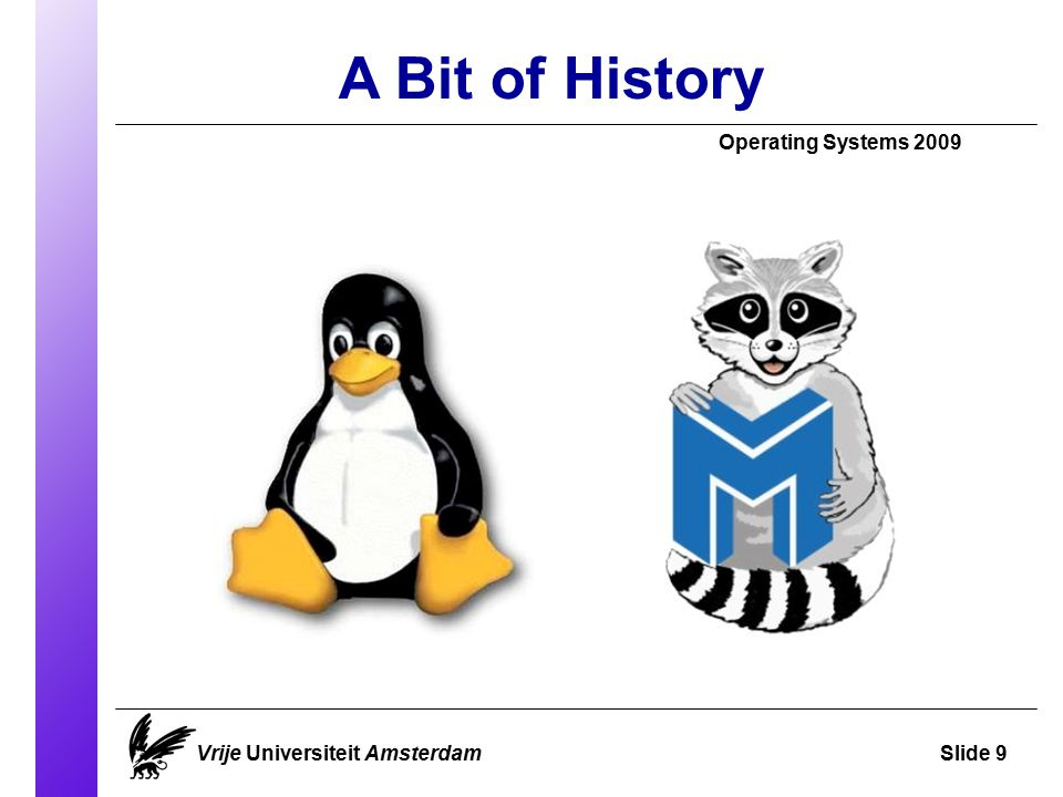 A Bit of History Operating Systems 2009 Vrije Universiteit AmsterdamSlide 9