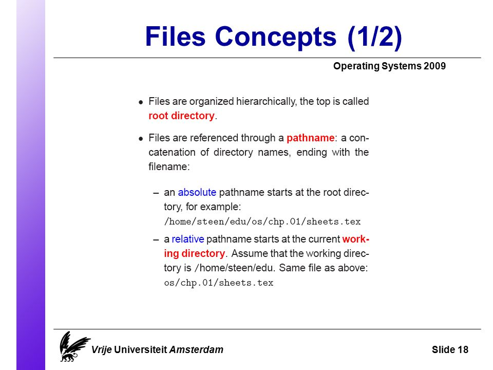 Files Concepts (1/2)‏ Operating Systems 2009 Vrije Universiteit AmsterdamSlide 18