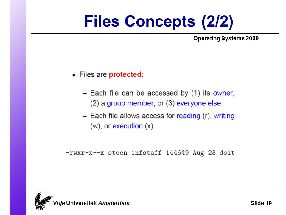 Files Concepts (2/2)‏ Operating Systems 2009 Vrije Universiteit AmsterdamSlide 19