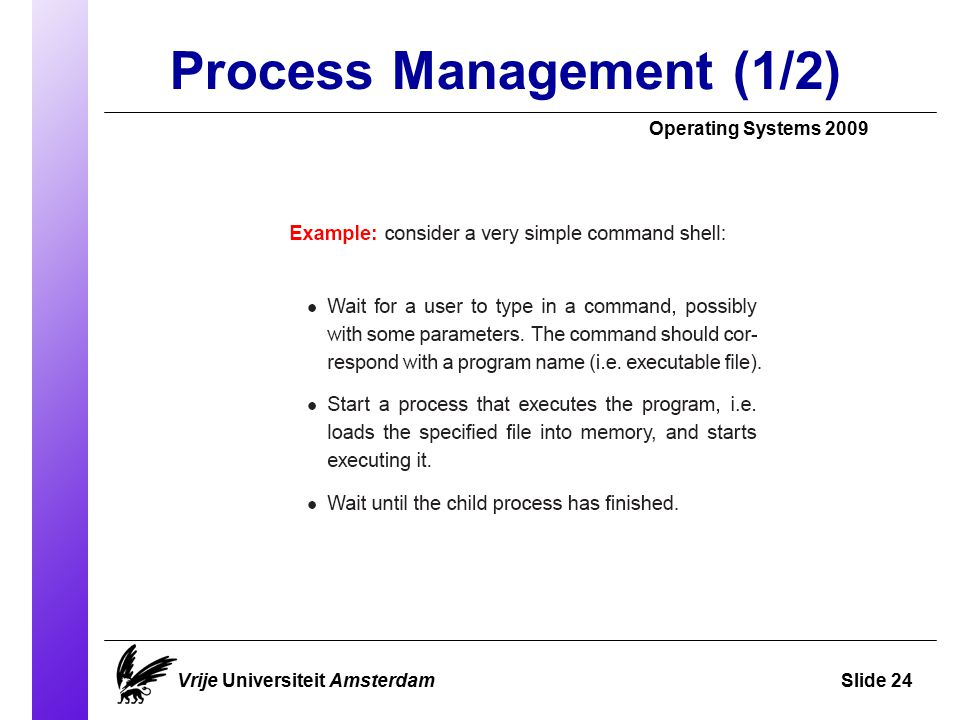 Process Management (1/2)‏ Operating Systems 2009 Vrije Universiteit AmsterdamSlide 24