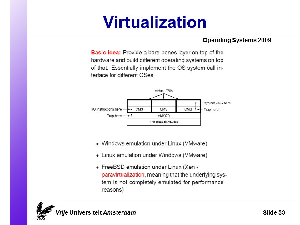 Virtualization Operating Systems 2009 Vrije Universiteit AmsterdamSlide 33