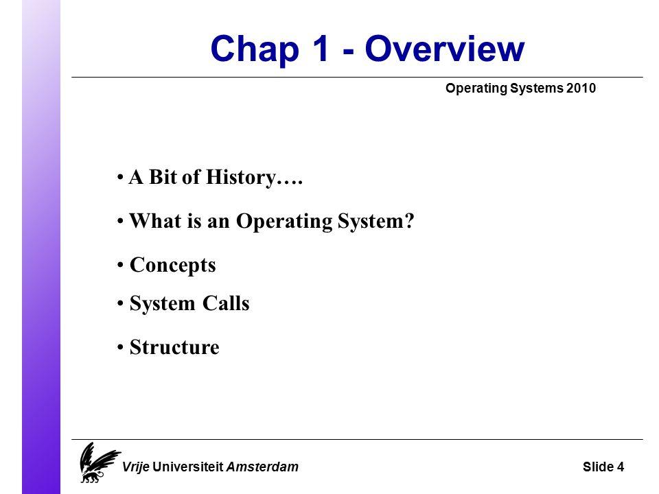 A Bit of History Operating Systems 2009 Vrije Universiteit AmsterdamSlide 5