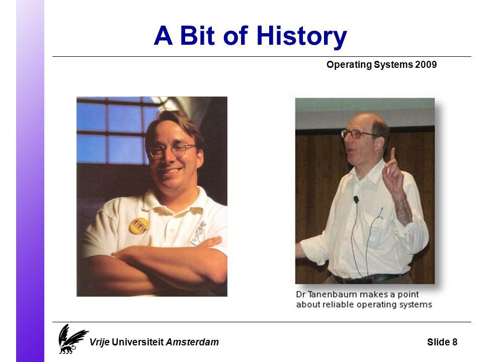 A Bit of History Operating Systems 2009 Vrije Universiteit AmsterdamSlide 9