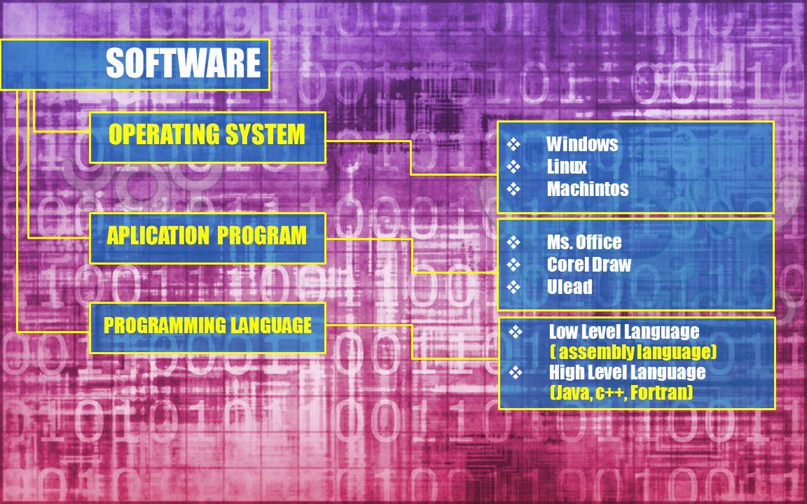 SOFTWARE OPERATING SYSTEM APLICATION PROGRAM PROGRAMMING LANGUAGE  Windows  Linux  Machintos  Ms. Office  Corel Draw  Ulead  Low Level Language