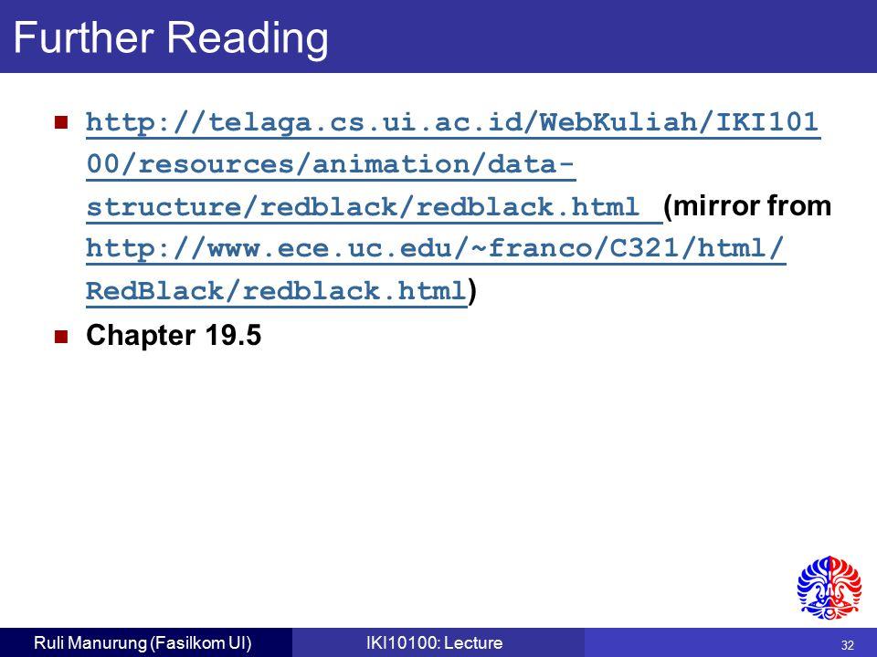 32 Ruli Manurung (Fasilkom UI)IKI10100: Lecture http://telaga.cs.ui.ac.id/WebKuliah/IKI101 00/resources/animation/data- structure/redblack/redblack.html (mirror from http://www.ece.uc.edu/~franco/C321/html/ RedBlack/redblack.html ) http://telaga.cs.ui.ac.id/WebKuliah/IKI101 00/resources/animation/data- structure/redblack/redblack.html Chapter 19.5 Further Reading