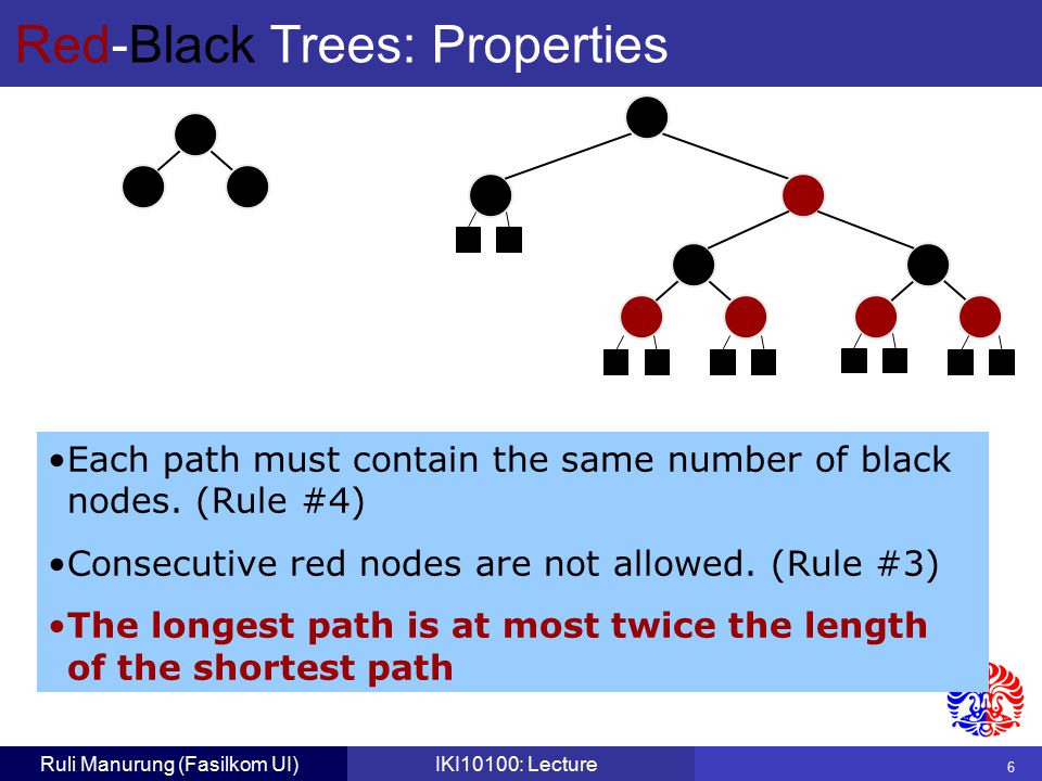 6 Ruli Manurung (Fasilkom UI)IKI10100: Lecture Red-Black Trees: Properties Each path must contain the same number of black nodes.