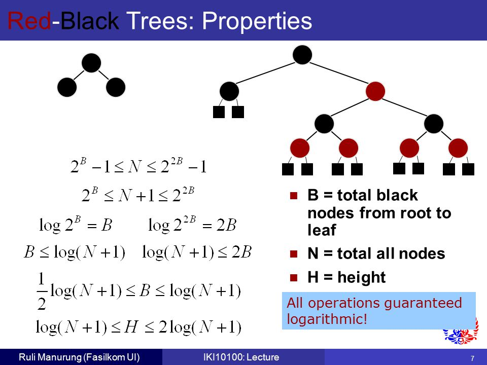 7 Ruli Manurung (Fasilkom UI)IKI10100: Lecture Red-Black Trees: Properties B = total black nodes from root to leaf N = total all nodes H = height All operations guaranteed logarithmic!