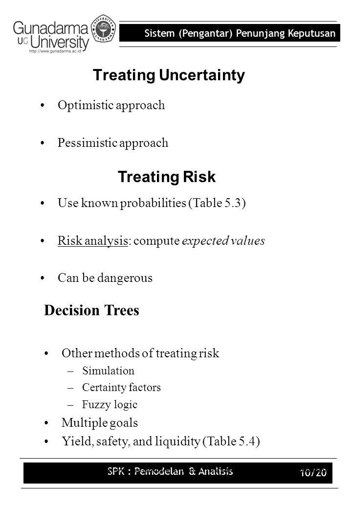 Sistem (Pengantar) Penunjang Keputusan SPK : Pemodelan & Analisis 10/20 Treating Uncertainty Optimistic approach Pessimistic approach Decision Support