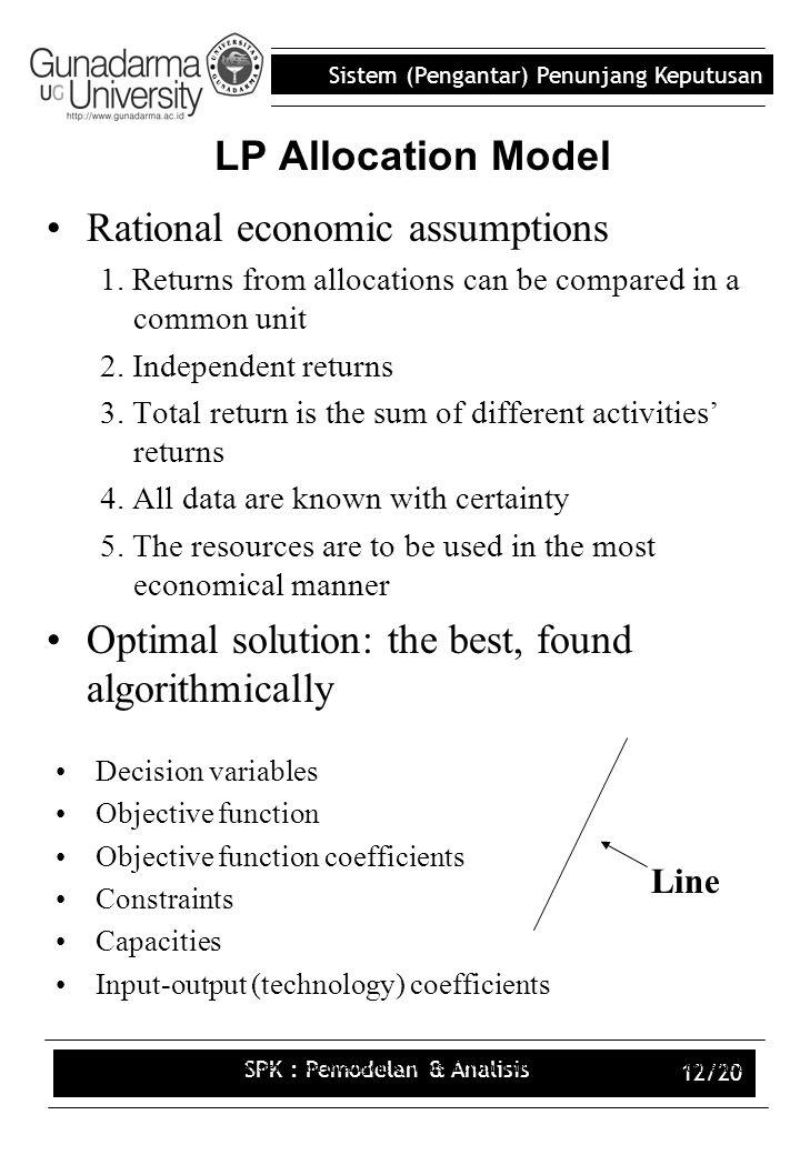 Sistem (Pengantar) Penunjang Keputusan SPK : Pemodelan & Analisis 12/20 LP Allocation Model Rational economic assumptions 1. Returns from allocations