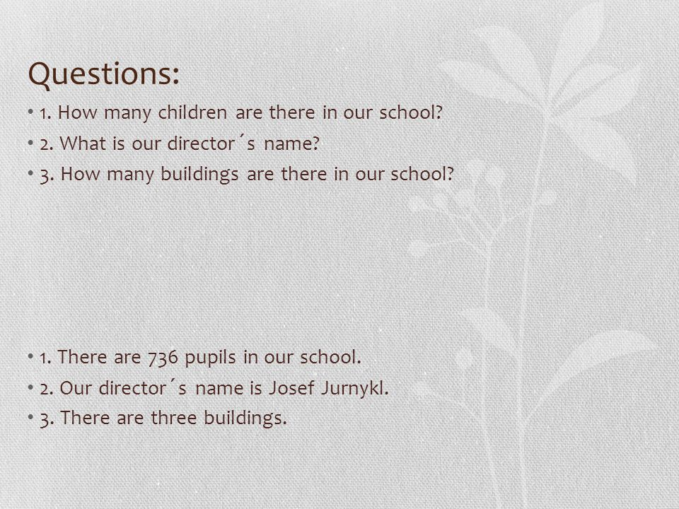 Questions: 1. How many children are there in our school? 2. What is our director´s name? 3. How many buildings are there in our school? 1. There are 7