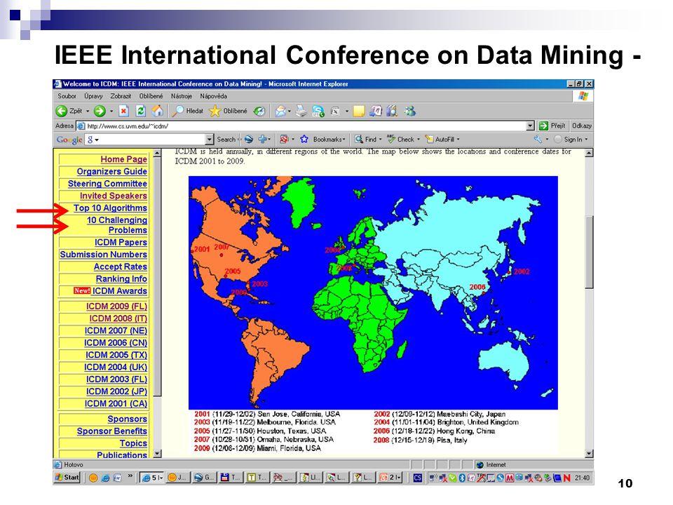 10 IEEE International Conference on Data Mining - www.cs.uvm.edu/~icdm/