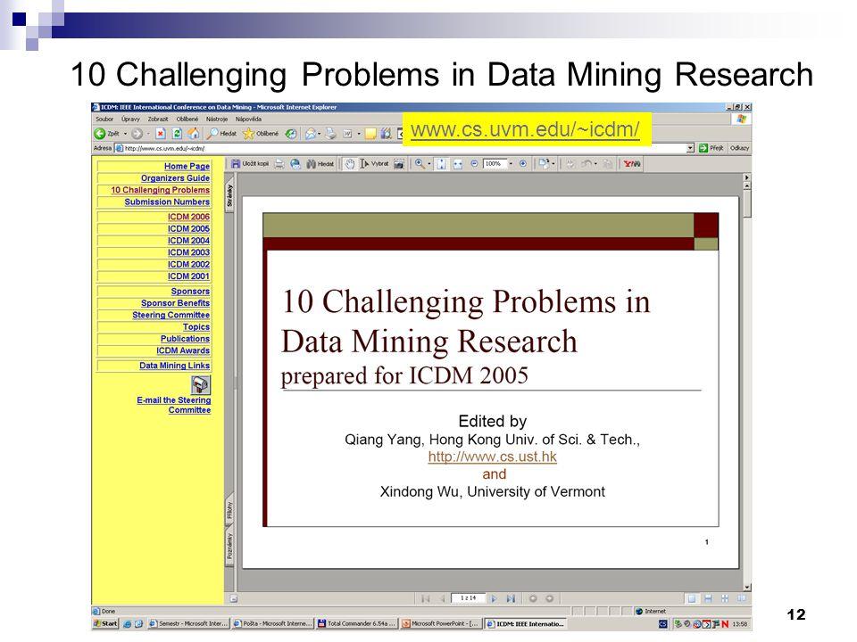 12 10 Challenging Problems in Data Mining Research www.cs.uvm.edu/~icdm/
