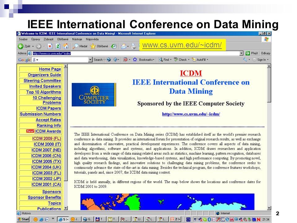 2 IEEE International Conference on Data Mining www.cs.uvm.edu/~icdm/