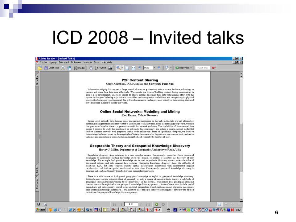 ICD 2008 – Invited talks 6
