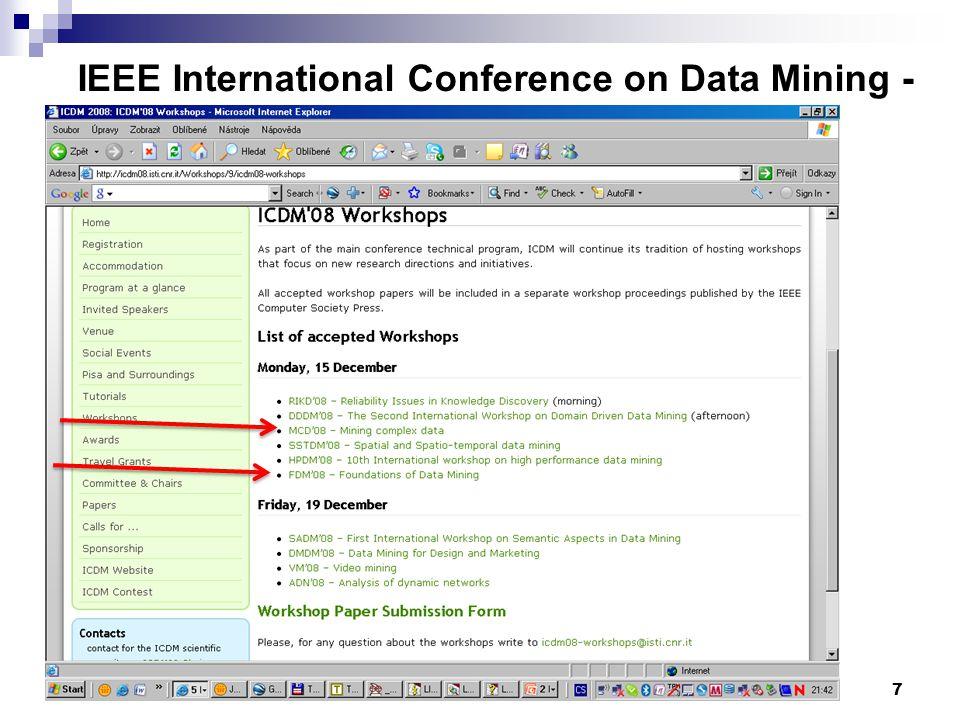 7 IEEE International Conference on Data Mining - www.cs.uvm.edu/~icdm/