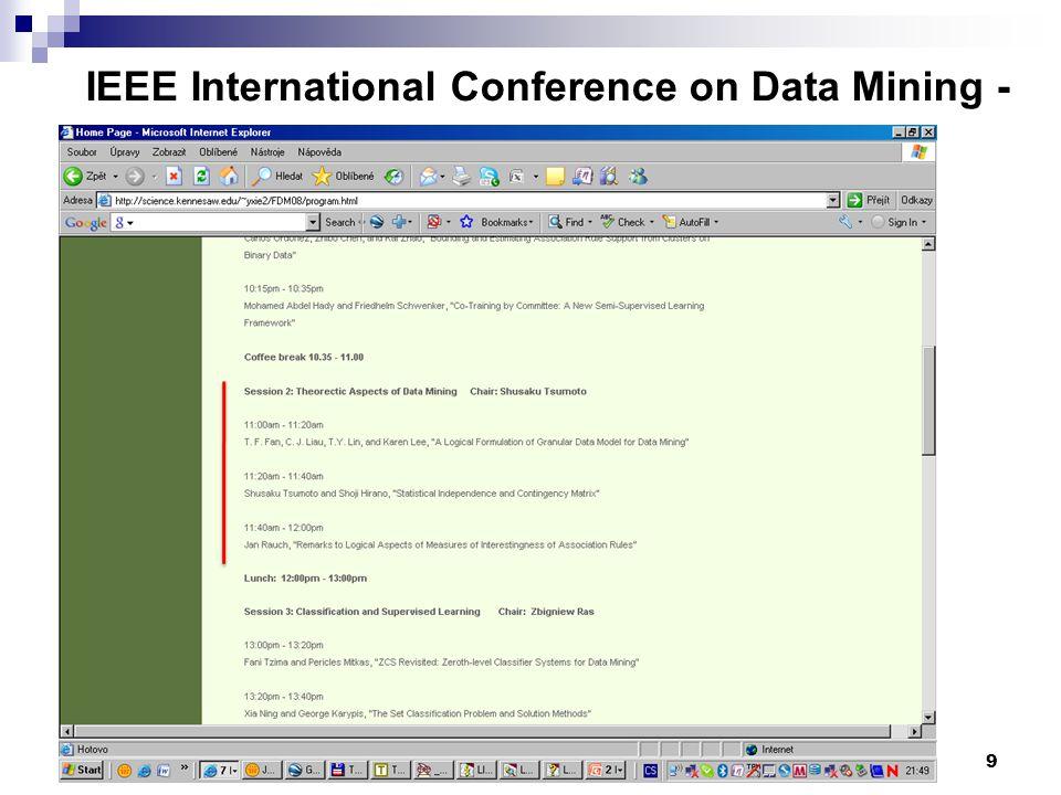 9 IEEE International Conference on Data Mining - www.cs.uvm.edu/~icdm/