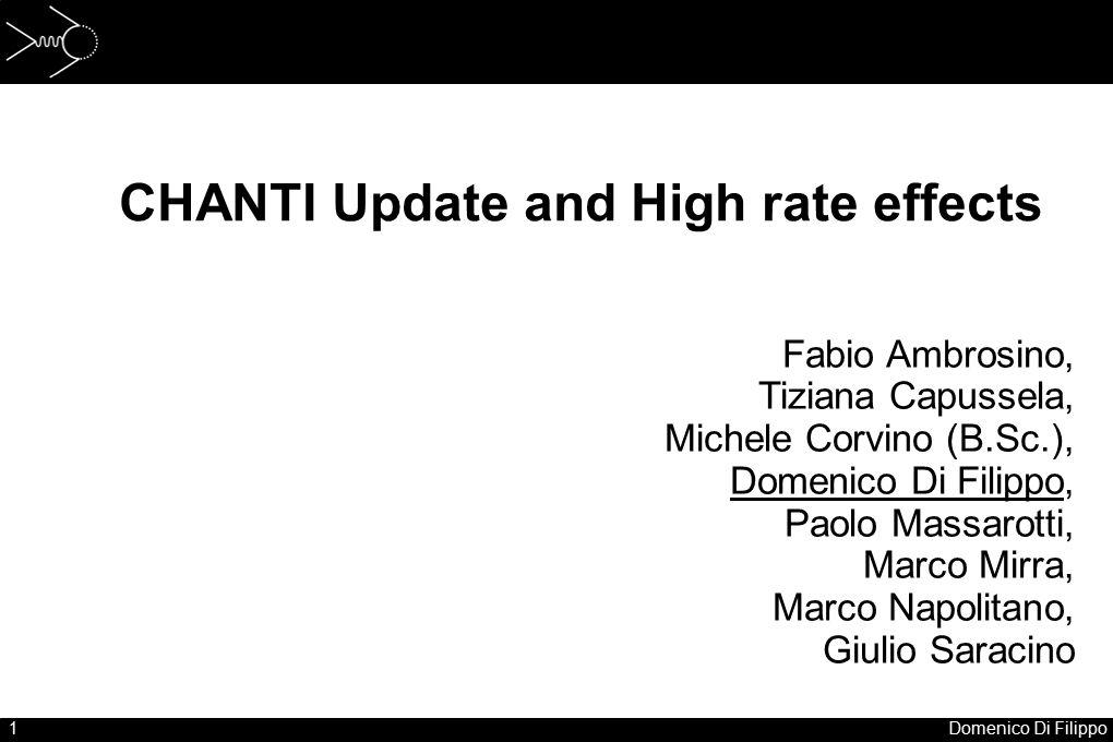 1Domenico Di Filippo CHANTI Update and High rate effects Fabio Ambrosino, Tiziana Capussela, Michele Corvino (B.Sc.), Domenico Di Filippo, Paolo Massa