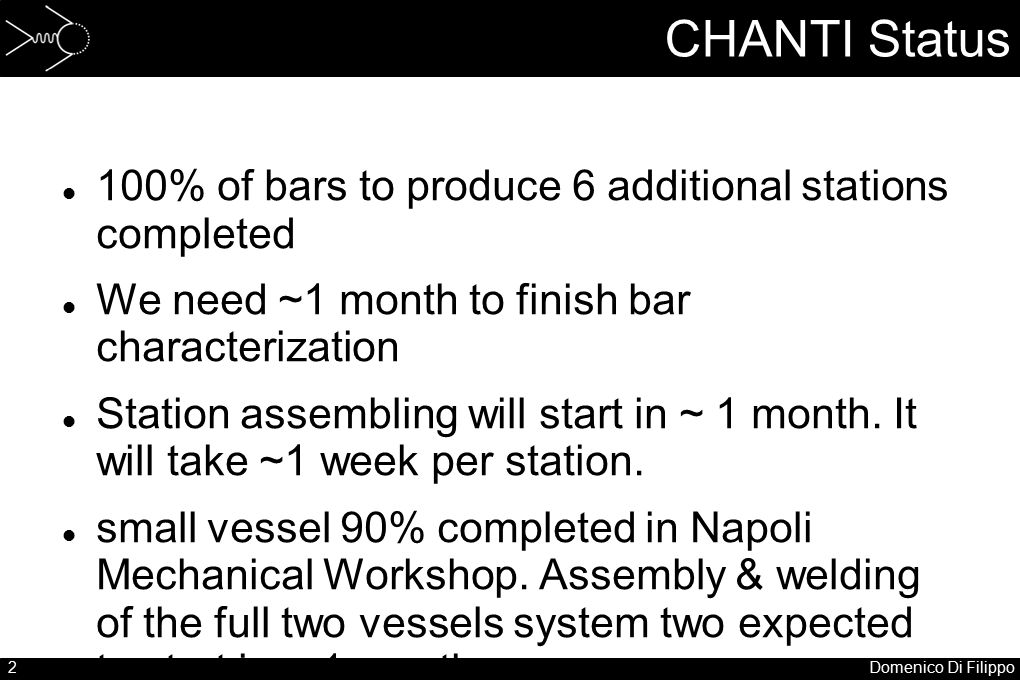 2Domenico Di Filippo 100% of bars to produce 6 additional stations completed We need ~1 month to finish bar characterization Station assembling will s