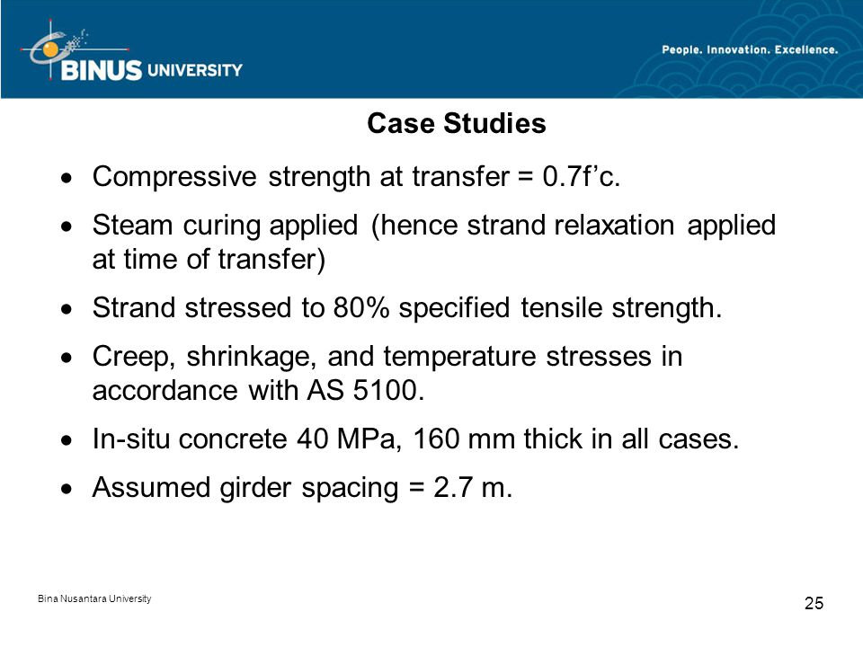 Bina Nusantara University 25 Case Studies  Compressive strength at transfer = 0.7f'c.