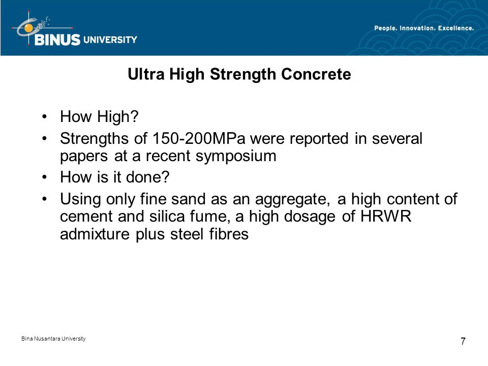Bina Nusantara University 7 Ultra High Strength Concrete How High.