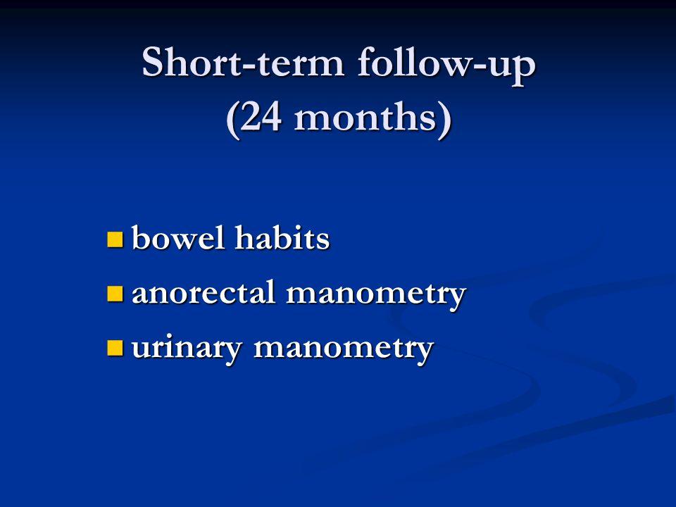 Short-term follow-up (24 months) bowel habits bowel habits anorectal manometry anorectal manometry urinary manometry urinary manometry
