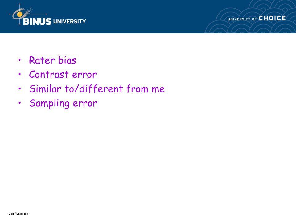 Bina Nusantara Rater bias Contrast error Similar to/different from me Sampling error