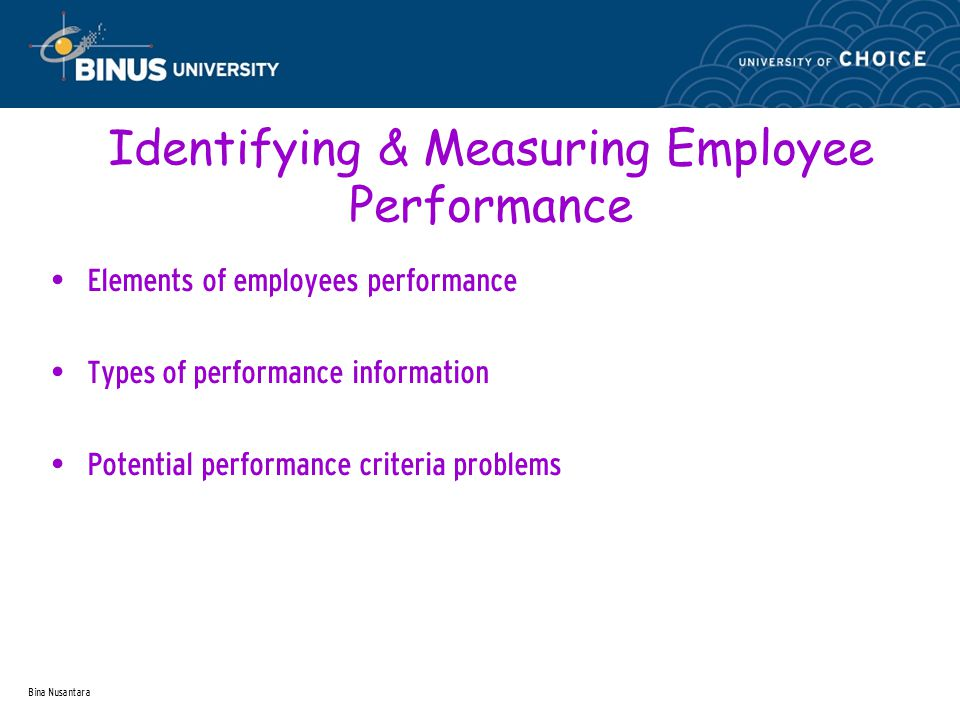 Bina Nusantara The Uses of Performance Appraisal Performance appraisal Administrative uses Compensation Promotion Dismissal Downsizing layoffs Development uses Identifying strengths Identifying area for growth Development planning Coaching & career planning