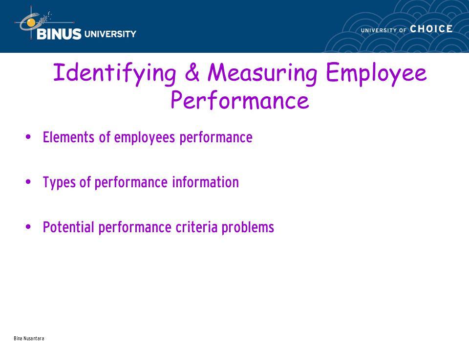 Bina Nusantara Identifying & Measuring Employee Performance Elements of employees performance Types of performance information Potential performance criteria problems