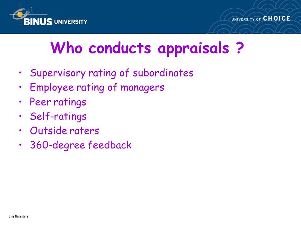 Bina Nusantara Who conducts appraisals .