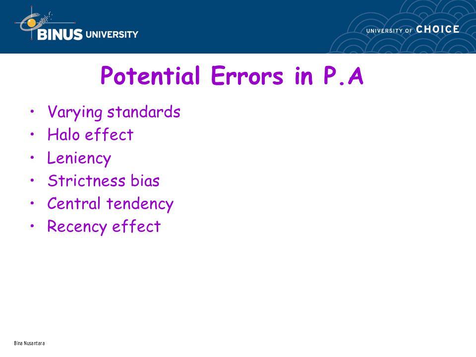 Bina Nusantara Potential Errors in P.A Varying standards Halo effect Leniency Strictness bias Central tendency Recency effect