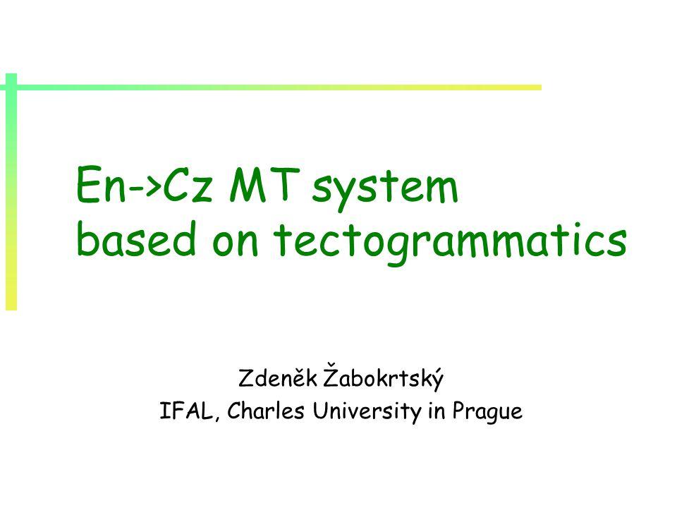 En->Cz MT system based on tectogrammatics Zdeněk Žabokrtský IFAL, Charles University in Prague