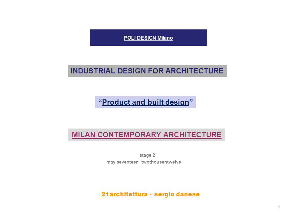 21architettura - s ergio danese 1 POLI DESIGN Milano stage 2 INDUSTRIAL DESIGN FOR ARCHITECTURE Product and built design may seventeen twothousentwelve MILAN CONTEMPORARY ARCHITECTURE