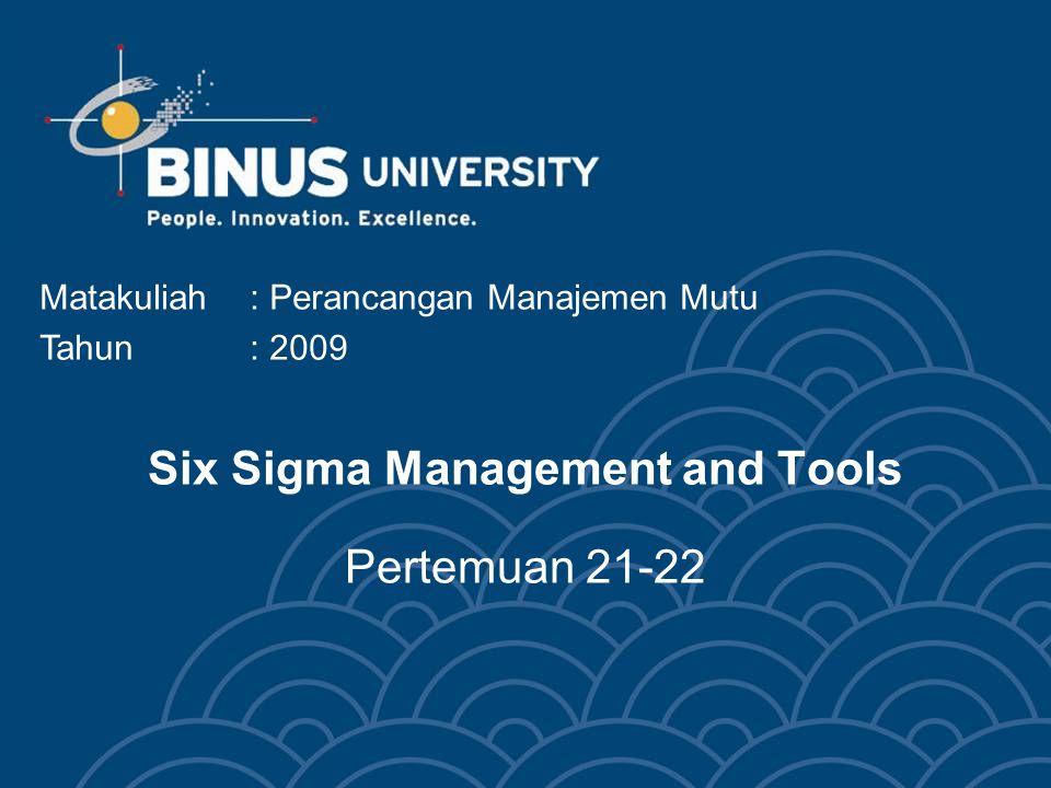 Six Sigma Management and Tools Pertemuan 21-22 Matakuliah: Perancangan Manajemen Mutu Tahun: 2009