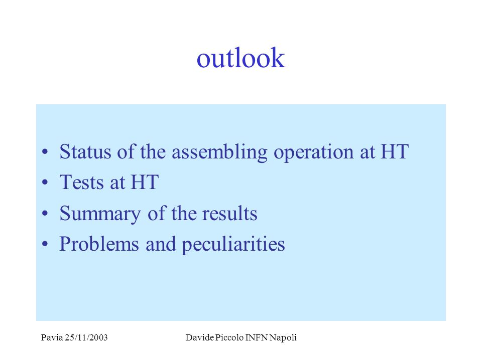 Pavia 25/11/2003Davide Piccolo INFN Napoli outlook Status of the assembling operation at HT Tests at HT Summary of the results Problems and peculiarities