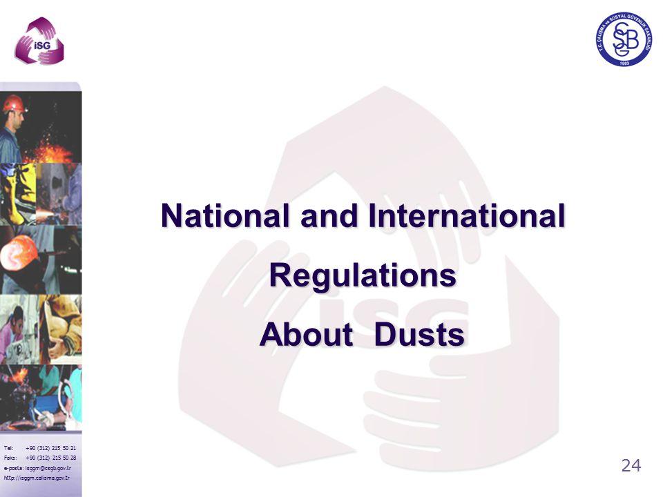 24 Tel: +90 (312) 215 50 21 Faks: +90 (312) 215 50 28 e-posta: isggm@csgb.gov.tr http://isggm.calisma.gov.tr National and International Regulations About Dusts