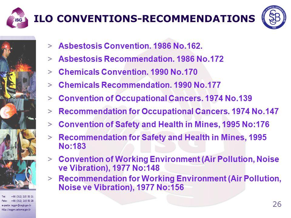 26 Tel: +90 (312) 215 50 21 Faks: +90 (312) 215 50 28 e-posta: isggm@csgb.gov.tr http://isggm.calisma.gov.tr ILO CONVENTIONS-RECOMMENDATIONS >Asbestosis Convention.