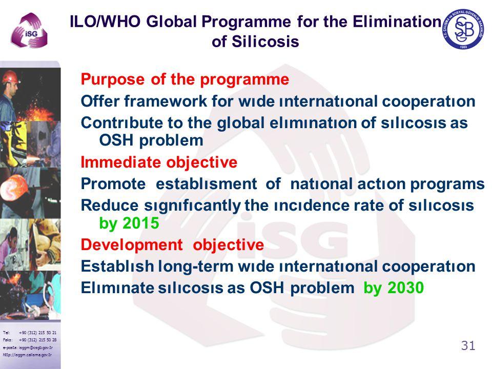 31 Tel: +90 (312) 215 50 21 Faks: +90 (312) 215 50 28 e-posta: isggm@csgb.gov.tr http://isggm.calisma.gov.tr ILO/WHO Global Programme for the Elimination of Silicosis Purpose of the programme Offer framework for wıde ınternatıonal cooperatıon Contrıbute to the global elımınatıon of sılıcosıs as OSH problem Immediate objective Promote establısment of natıonal actıon programs Reduce sıgnıfıcantly the ıncıdence rate of sılıcosıs by 2015 Development objective Establısh long-term wıde ınternatıonal cooperatıon Elımınate sılıcosıs as OSH problem by 2030