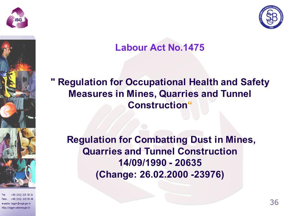 36 Tel: +90 (312) 215 50 21 Faks: +90 (312) 215 50 28 e-posta: isggm@csgb.gov.tr http://isggm.calisma.gov.tr Labour Act No.1475