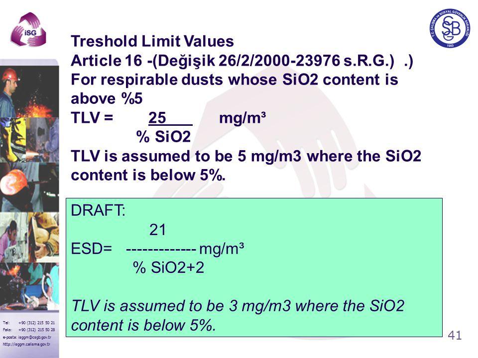 41 Tel: +90 (312) 215 50 21 Faks: +90 (312) 215 50 28 e-posta: isggm@csgb.gov.tr http://isggm.calisma.gov.tr DRAFT: 21 ESD= ------------- mg/m³ % SiO2