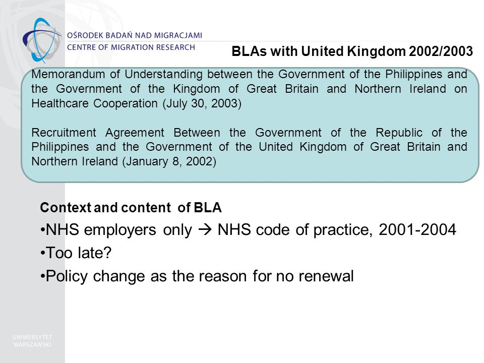 Context and content of BLA NHS employers only  NHS code of practice, 2001-2004 Too late.
