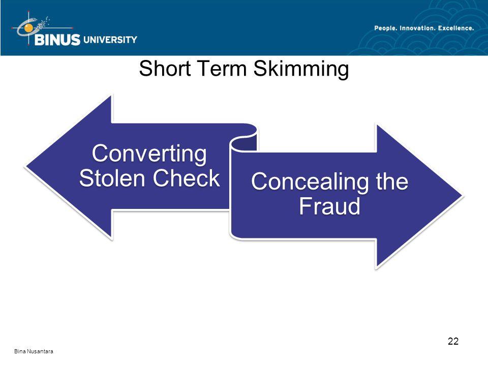 Short Term Skimming Converting Stolen Check Concealing the Fraud 22 Bina Nusantara