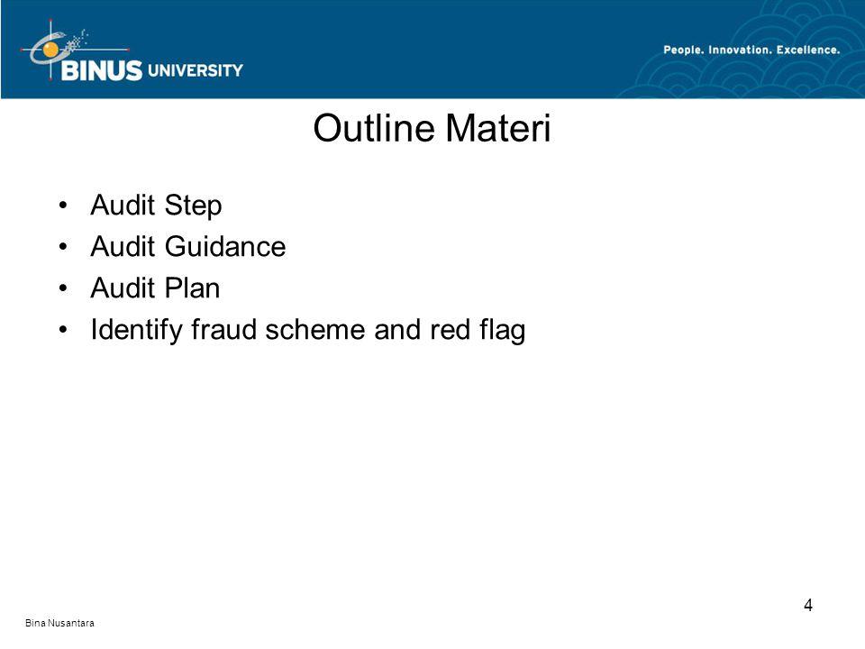 Bina Nusantara Audit Step Audit Guidance Audit Plan Identify fraud scheme and red flag Outline Materi 4