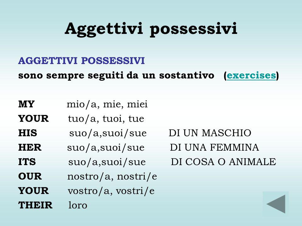 Aggettivi possessivi AGGETTIVI POSSESSIVI sono sempre seguiti da un sostantivo (exercises)exercises MY mio/a, mie, miei YOUR tuo/a, tuoi, tue HIS suo/