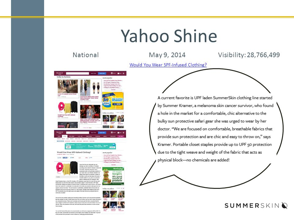 Yahoo Shine NationalMay 9, 2014Visibility: 28,766,499 Would You Wear SPF-Infused Clothing?