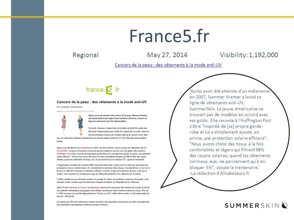 France5.fr RegionalMay 27, 2014Visibility: 1,192,000 Cancers de la peau : des vêtements à la mode anti-UV 'Après avoir été atteinte d un mélanome en 2007, Summer Kramer a lancé sa ligne de vêtements anti-UV, SummerSkin.