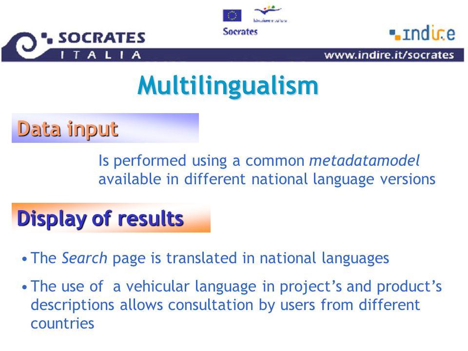 Multilingualism Input in national languages