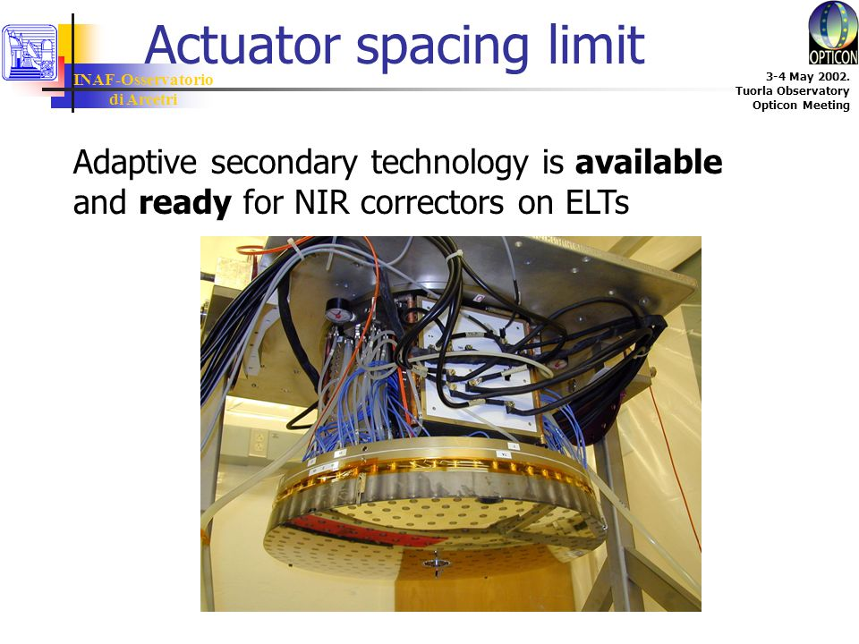 INAF-Osservatorio di Arcetri 3-4 May 2002. Tuorla Observatory Opticon Meeting Actuator spacing limit Adaptive secondary technology is available and re